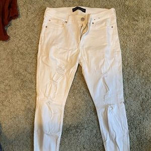 Express Cropped White Distressed Jeans